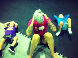 Bec and her kids at the gym