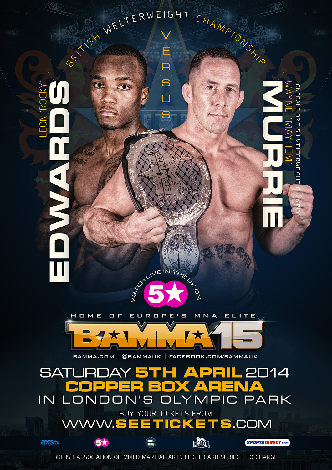 WAYNE MURRIE VS. LEON 'ROCKY' EDWARDS  ADDED TO BAMMA 15 WELTERWEIGHT TITLE FIGHT