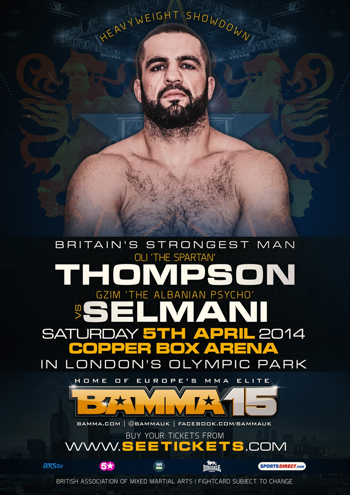 OLI THOMPSON VS GZIM 'ALBANIAN PSYCHO' SELMANI FOR BAMMA 15 (UK)