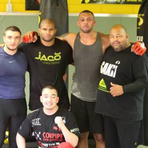 Chi Lewis-Parry after training with Alistair Overeem