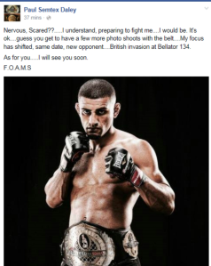 Paul Daley FB Statement