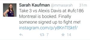 Sarah Kaufman Fight announcement tweet