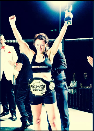 Laura Handy just after her winning her K1 Flyweight Title Fight
