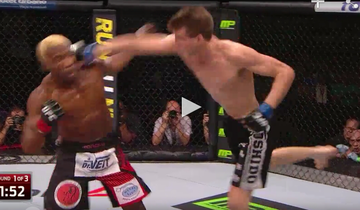 Matt Dwyer's spectacular superman punch Knockout of William Macario UFC Fight Night 61