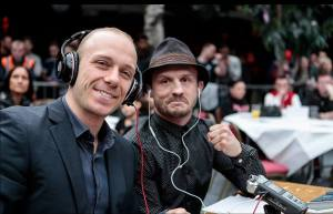 Chris Hoekstra and Brad Pickett commentating at FURY MMA 14