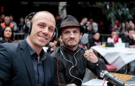 Chris Hoekstra and Brad Pickett commentating at FURY MMA 14