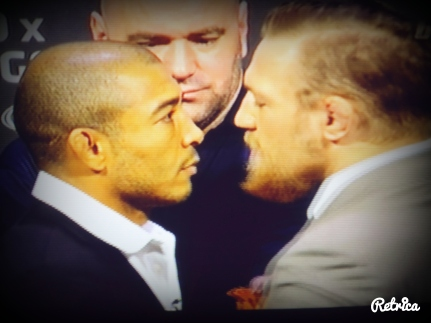 Jose Aldo vs. Conor McGregor UFC 189 World Tour Press Conference Rio de Janeiro Face Off