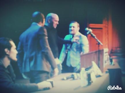 Dana White holding back Conor McGregor from Jose Aldo at the Boston UFC 189 World Championship Tour
