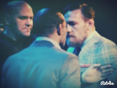 Jose Aldo and Conor McGregor come Face to Face UFC 189 World Championship Tour