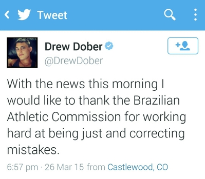 Tweet from Drew Dober Thanking the Brazilian Athletic Commision