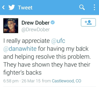Tweet from Drew Dober Thanking the UFC