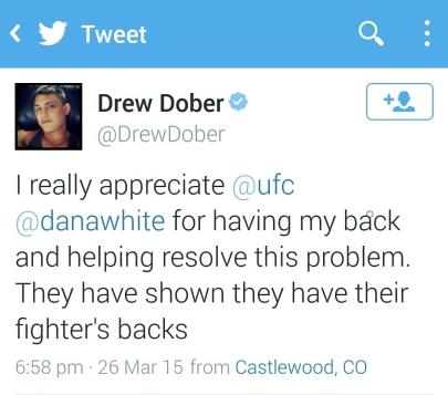 Tweet from Drew Dober Thanking the UFC