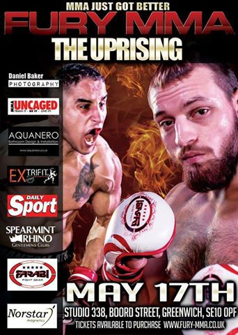 FURY MMA –  The Uprising Returns to Studio 338 on May17th
