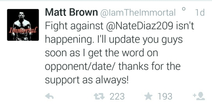 Matt Brown Tweet