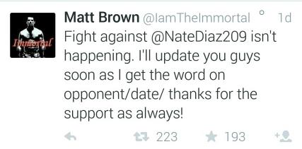 Matt Brown Tweet