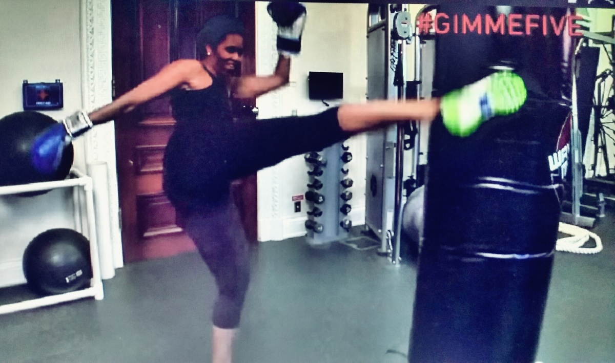 The First Lady Michelle Obama Incoporating Kickboxing Into Her Daily Routine