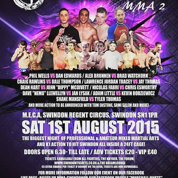 RAGED UK MMA 2, Saturday, August 1st in Swindon : Full fight card and running order