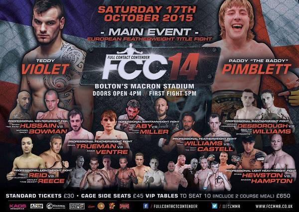 Full Contact Contender 14: Full Results October 17th 2015
