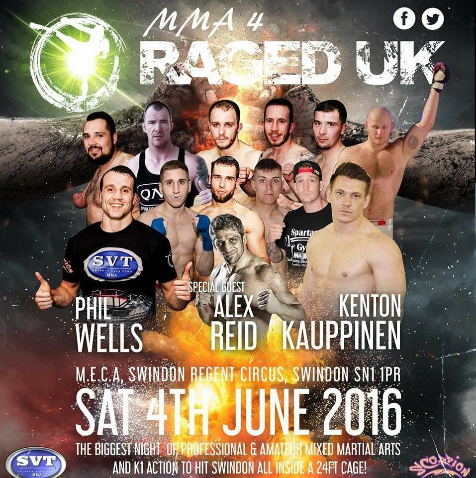 Raged UK MMA 4 Returns Saturday, June 4th at Swindon M.E.C.A