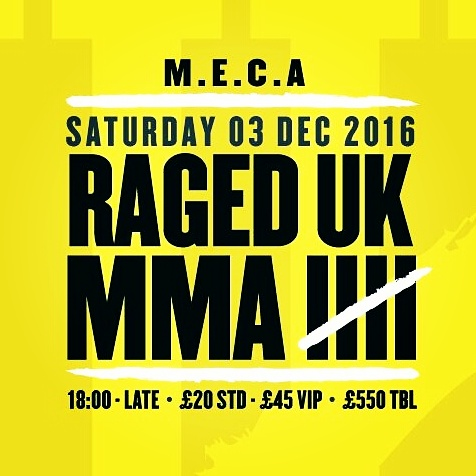 Raged UK MMA 5 returns Saturday December 3rd at Swindon M.E.C.A