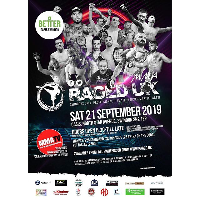 RAGED UK MMA 11 is back in Swindon with full streaming service PPV September 21st, 2019