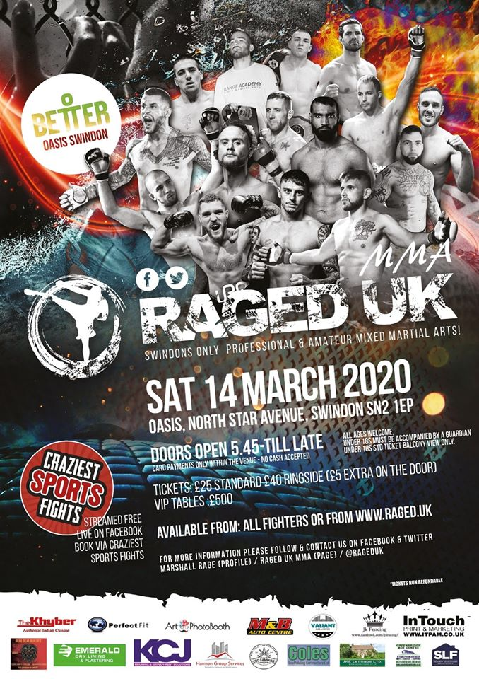 Raged UK MMA 12 returns to Swindon on Saturday, March 14th 2020