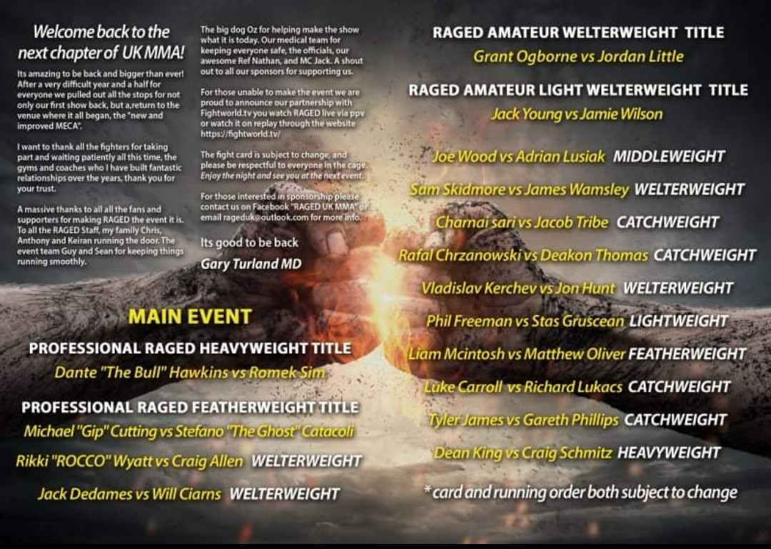RAGED UK MMA is back on Friday 10th September2021